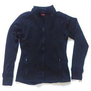 Spanx black jacket, ruched collar/cuffs, Sz med